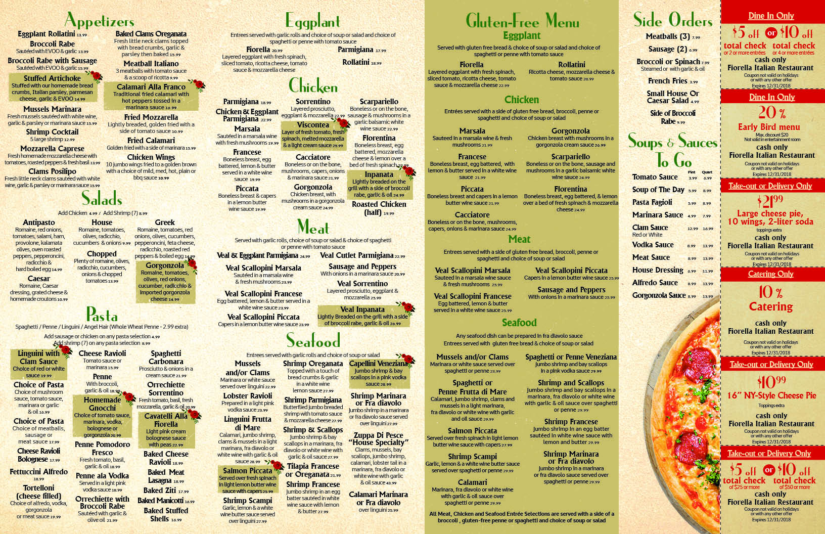 take out menu fiorella italian restaurant